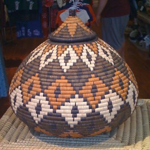 large palm basket