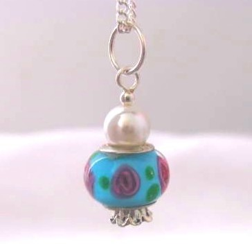 Sterling silver and murano glass pendant